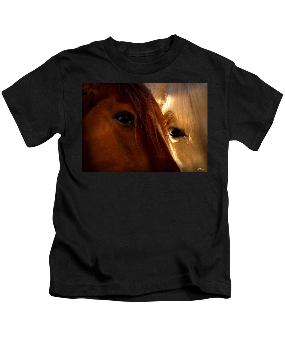Horses Kids T-Shirt featuring the photograph Sharing by Bill Stephens