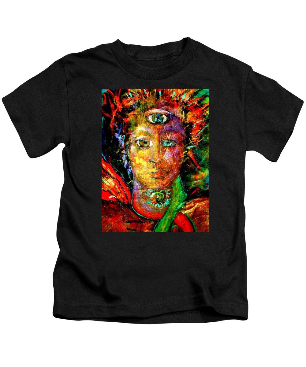 She Kids T-Shirt featuring the painting Third Eye by Shakti Brien