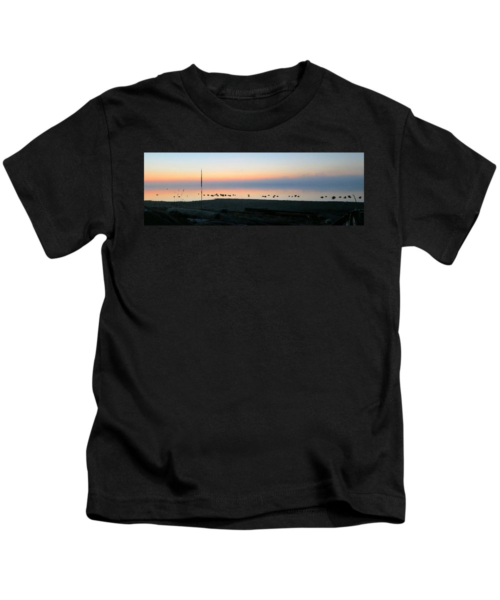 Canada Geese Kids T-Shirt featuring the photograph Shhhhhh ... The Salish Sea Is Sleeping .... by Shelley Lewis