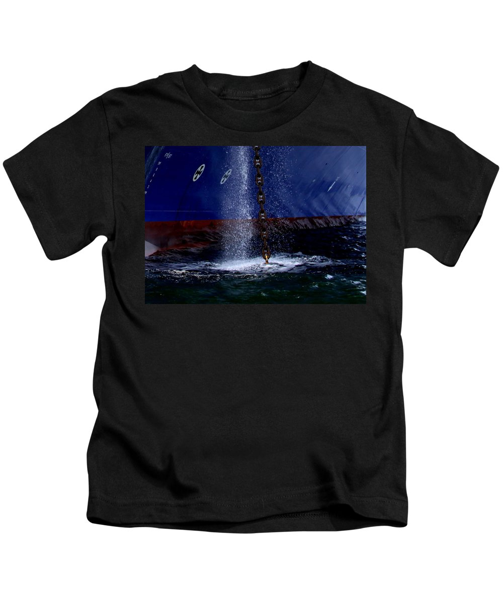 Ship Kids T-Shirt featuring the photograph Ship At Anchor by Travis Truelove