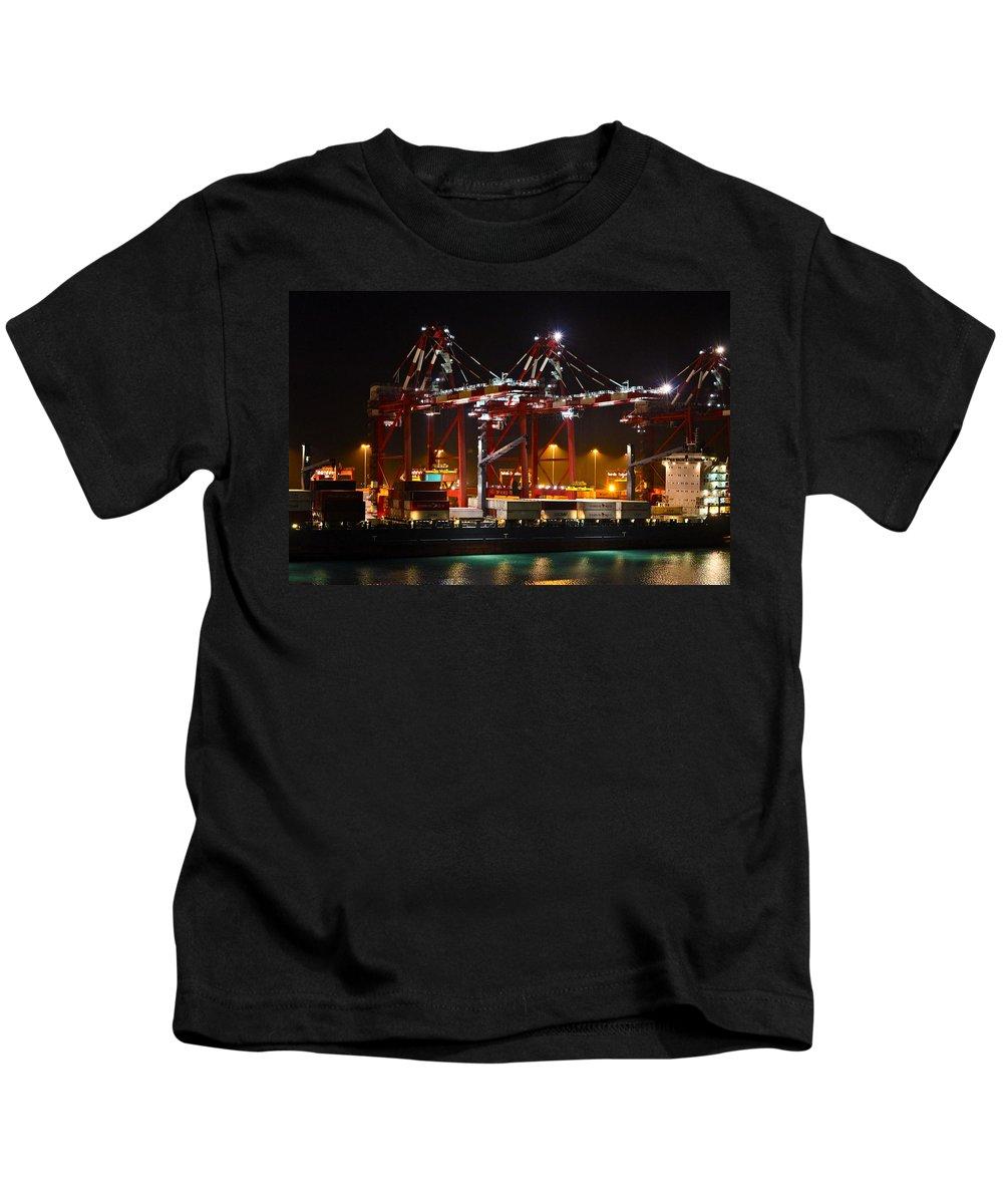 Callao Kids T-Shirt featuring the photograph Shipyards Callao Port Lima Peru by Kurt Van Wagner