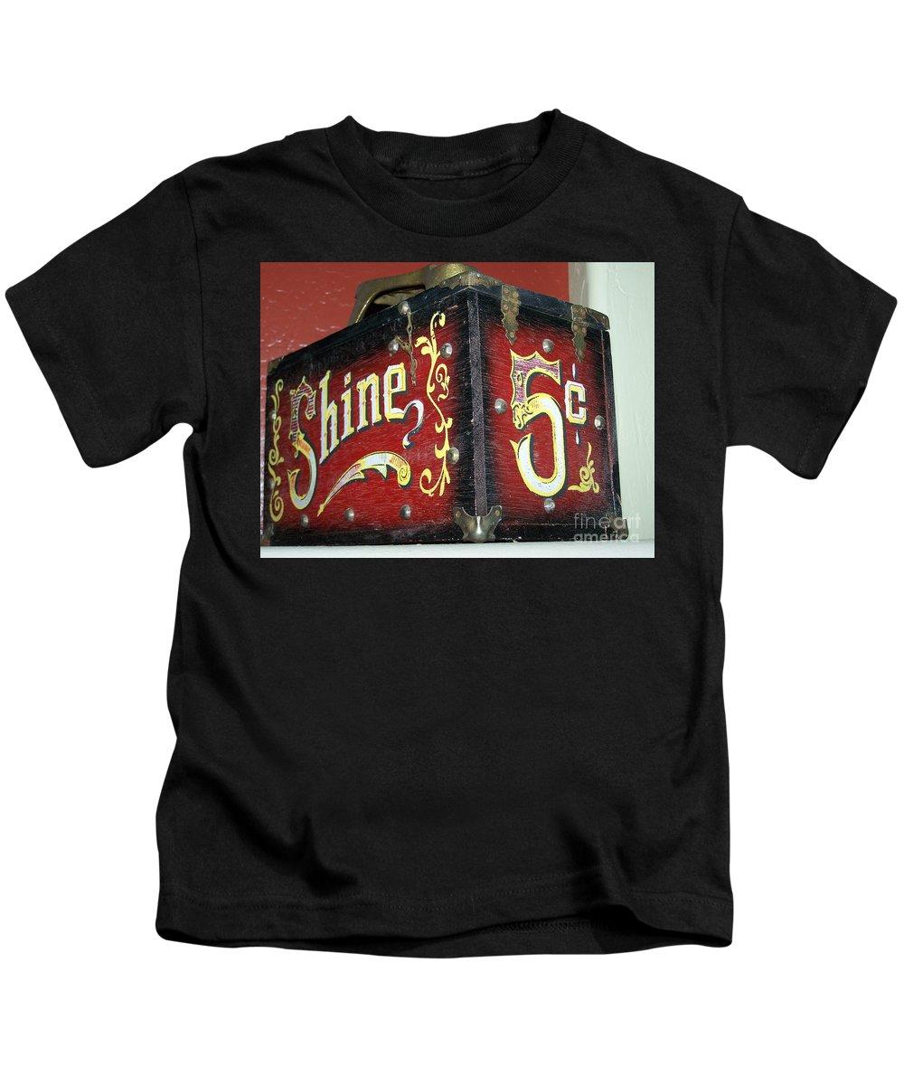 Antiques Kids T-Shirt featuring the photograph Shoe Shine Kit by Pamela Walrath
