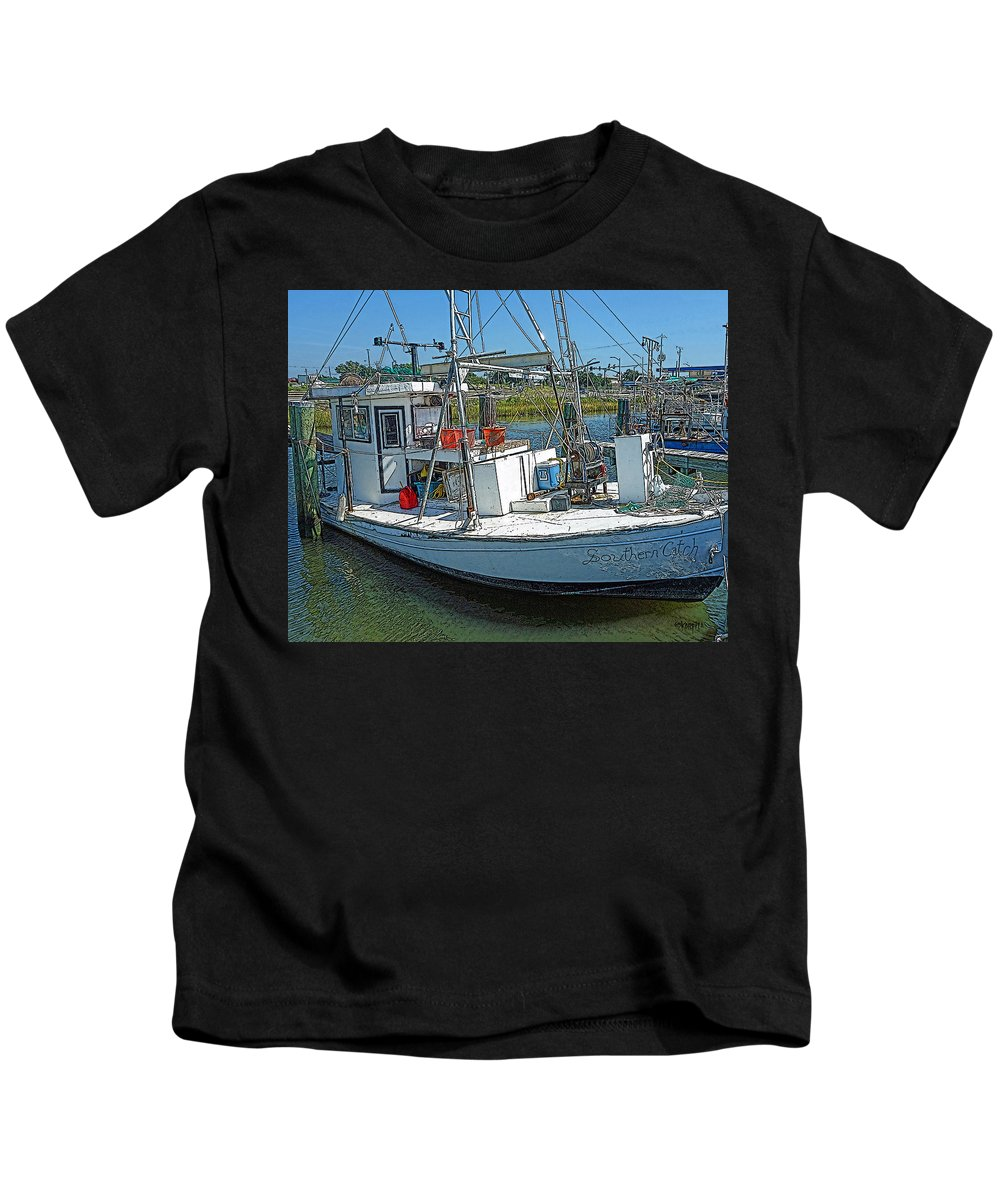 Shrimp Boat Kids T-Shirt featuring the photograph Shrimp Boat - Southern Catch by Rebecca Korpita