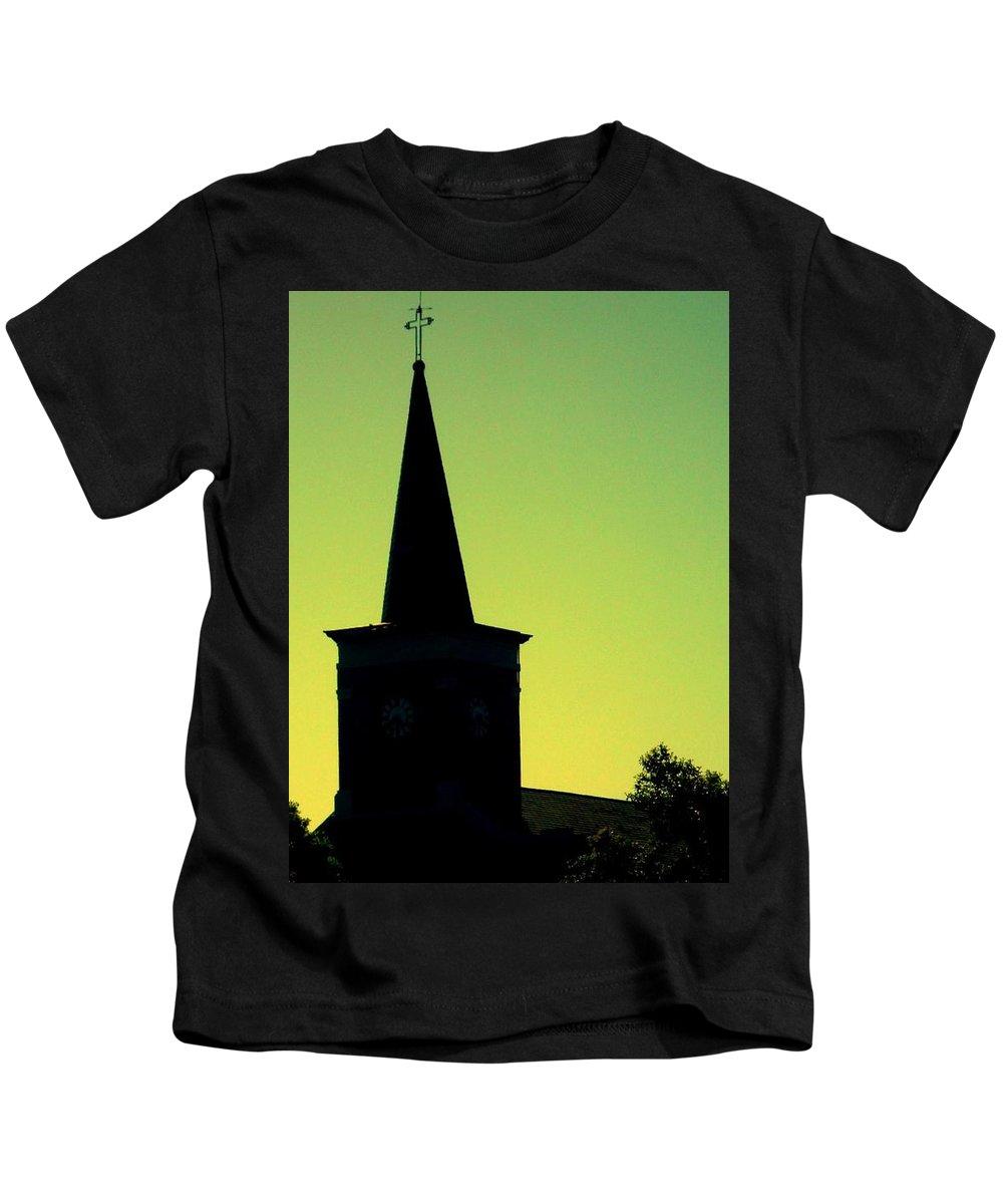 Photography Kids T-Shirt featuring the photograph Silhouette Church by JoNeL Art