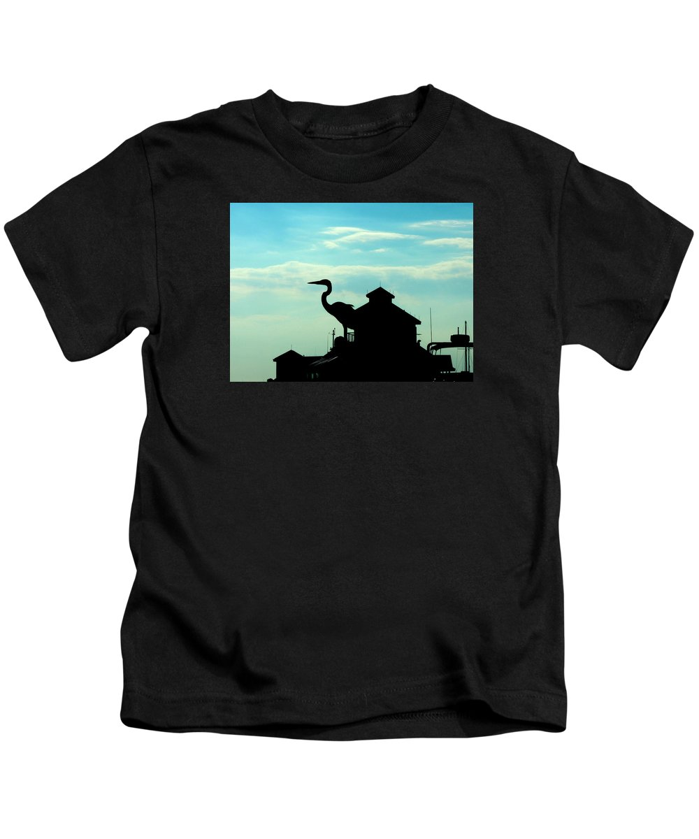 Wildlife Kids T-Shirt featuring the photograph Silhouette Of A Heron by Marilyn Holkham