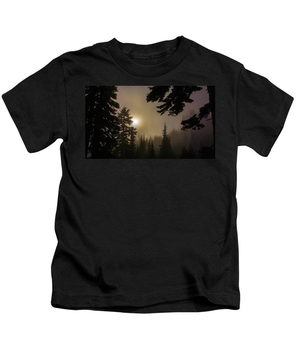 Silhouette Kids T-Shirt featuring the photograph Silhouettes Of Trees On Mt Rainier II by Greg Reed