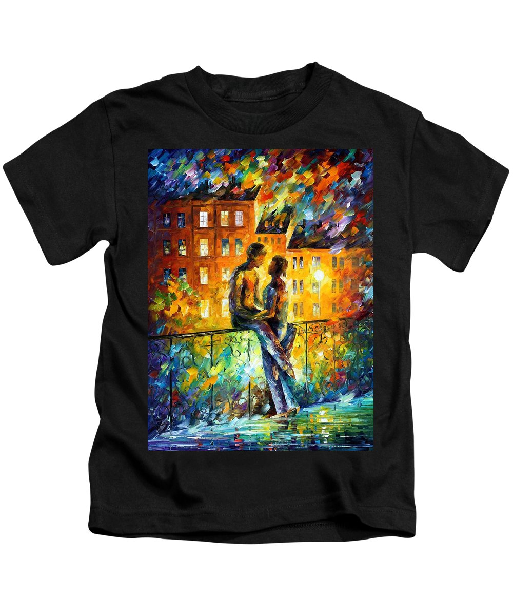 Oil Paintings Kids T-Shirt featuring the painting Silhouettes - Palette Knife Oil Painting On Canvas By Leonid Afremov by Leonid Afremov