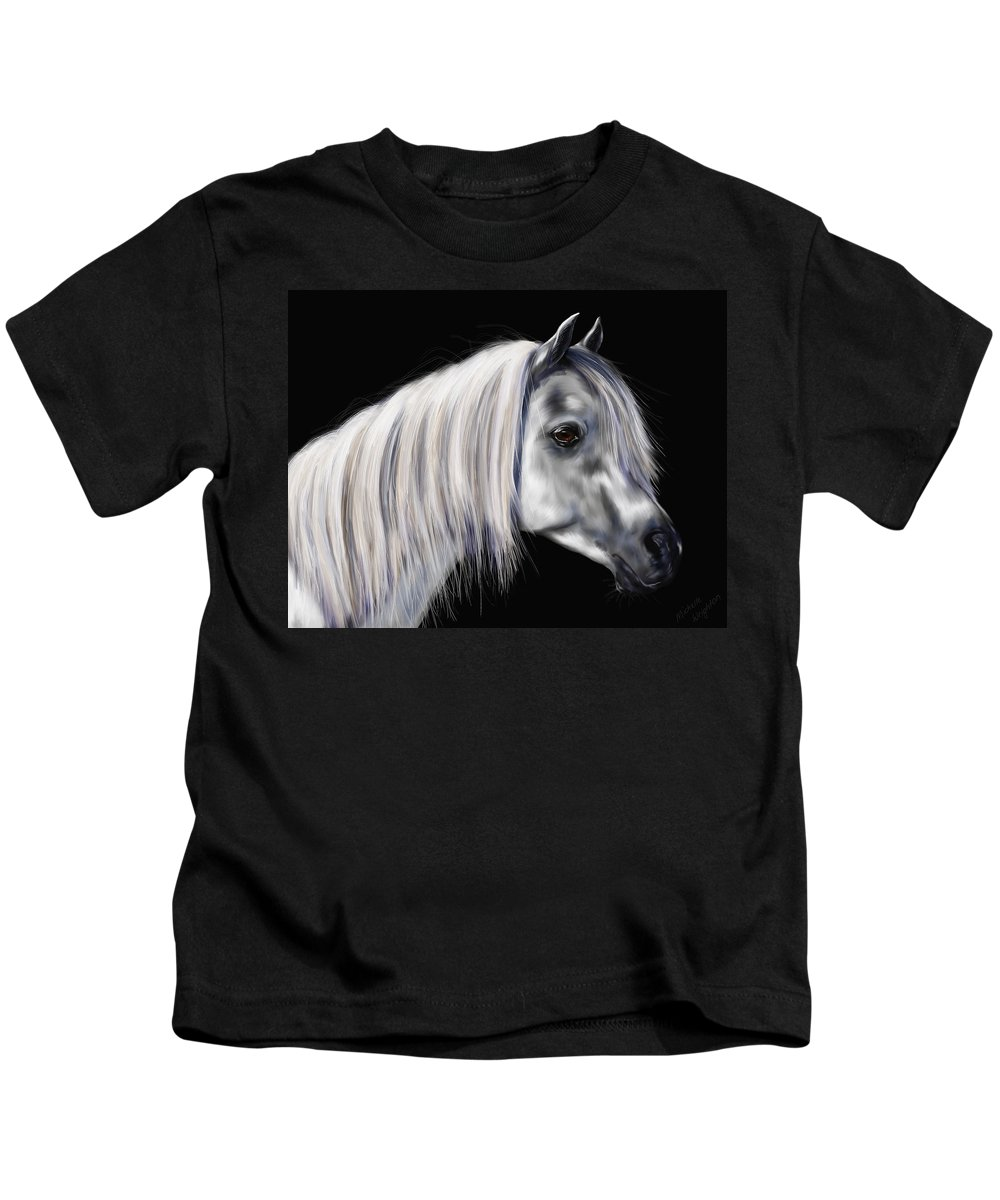 Arab Kids T-Shirt featuring the painting Grey Arabian Mare Painting by Michelle Wrighton