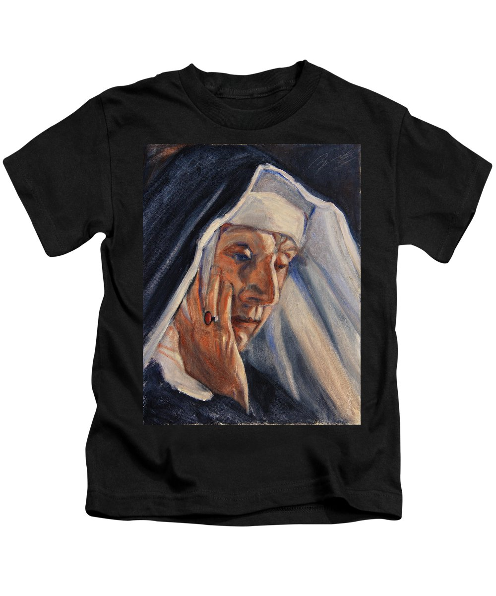 The Kids T-Shirt featuring the painting Sister Ann by Xueling Zou