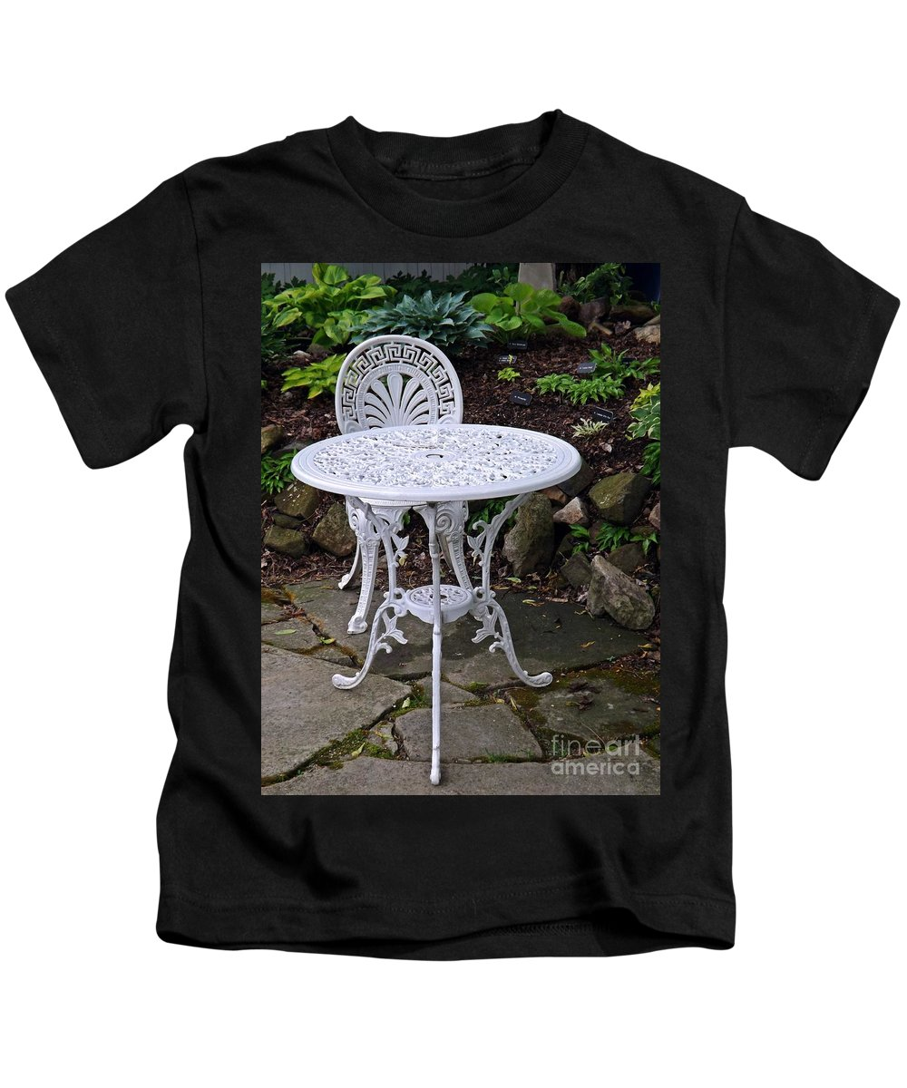 Relaxation Kids T-Shirt featuring the photograph Sit A Spell by Sara Raber