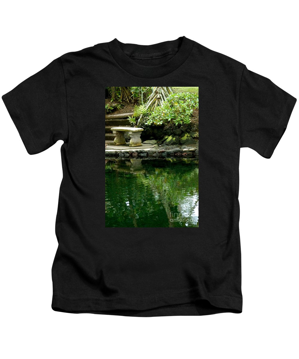 Hawaii Kids T-Shirt featuring the photograph Sitting By The Pond by Lehua Pekelo-Stearns
