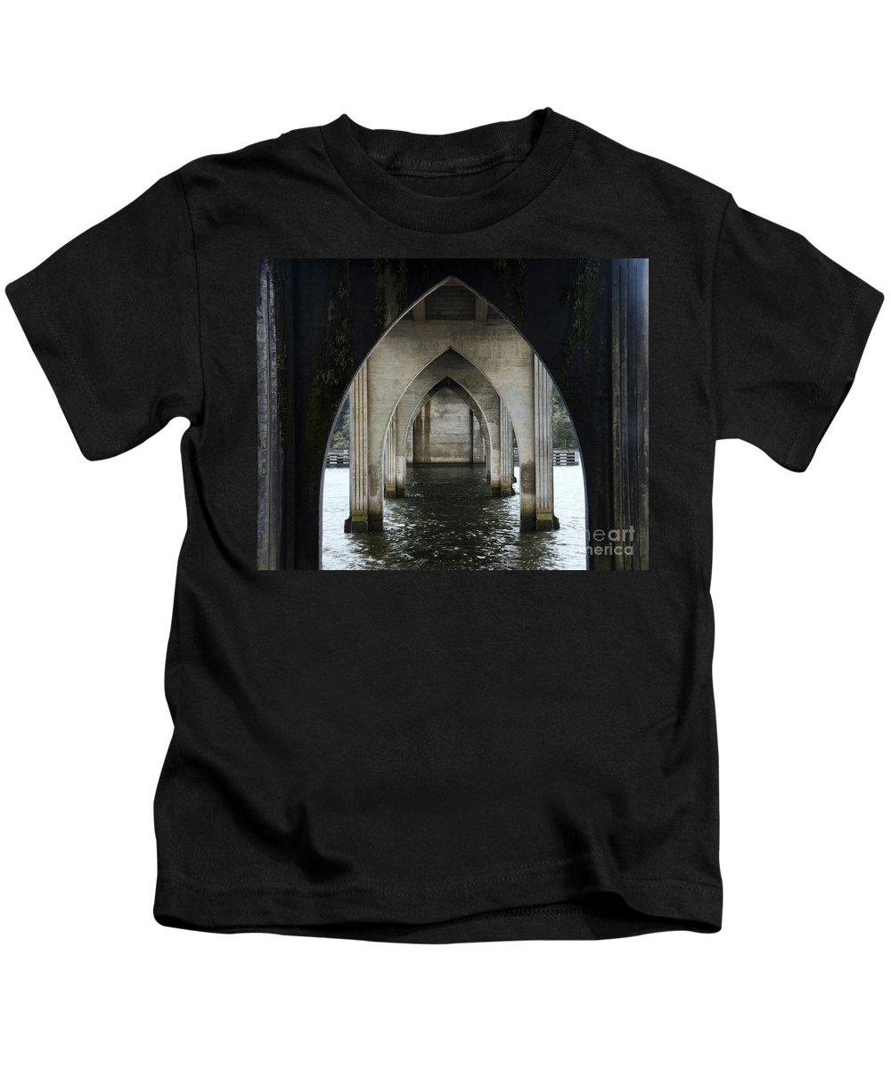 Bridge Kids T-Shirt featuring the photograph Siuslaw River Bridge Florence Oregon by Bob Christopher