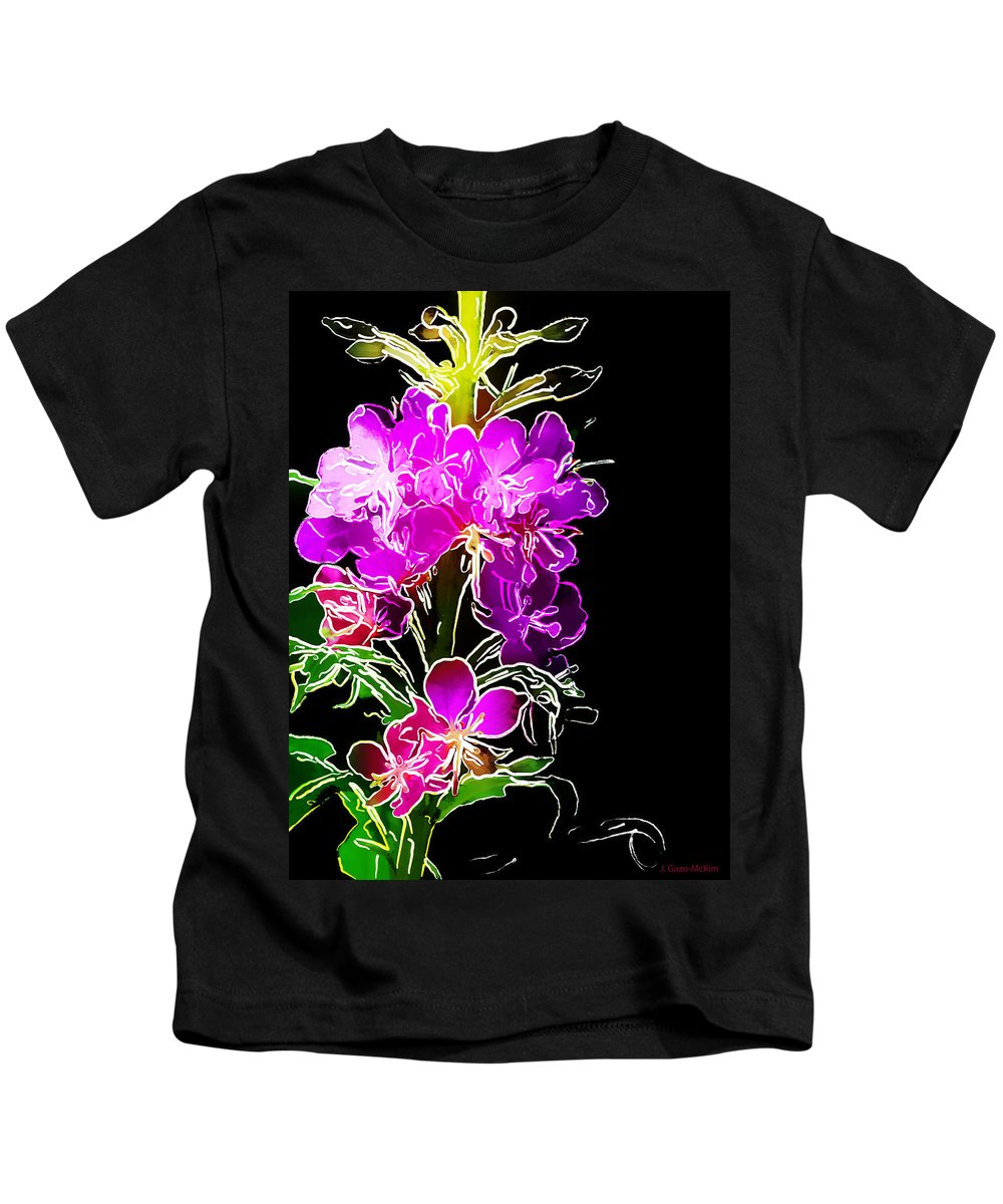 Flowers Kids T-Shirt featuring the digital art Sketchy Blooms by Jo-Anne Gazo-McKim