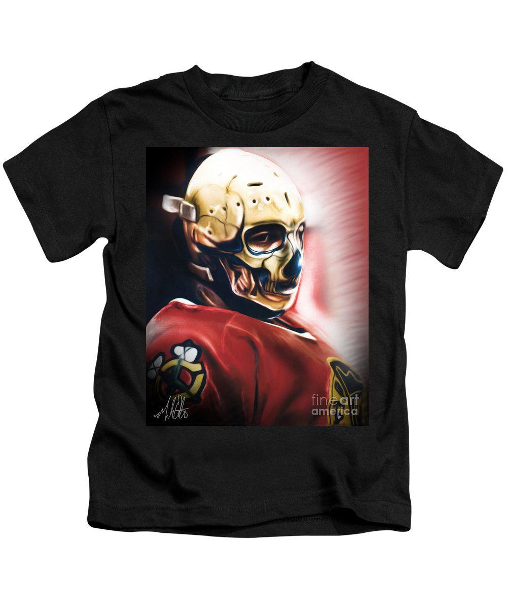 Warren Skorodenski Kids T-Shirt featuring the painting Skull Mask by Mike Oulton