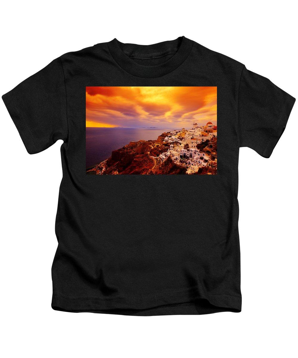 Santorini Kids T-Shirt featuring the photograph Sky On Fire by Midori Chan