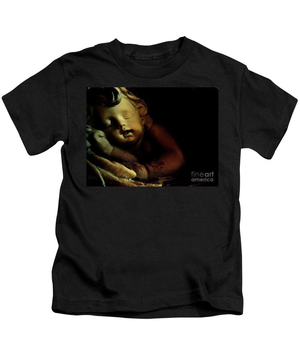 Sleeping Cherub Garden Stauary Kids T-Shirt featuring the photograph Sleeping Cherub #2 by Robert ONeil