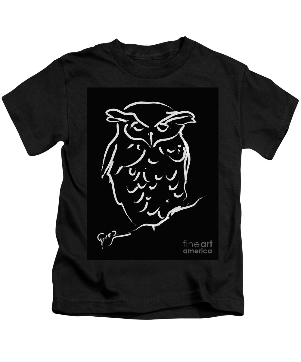 Wildlife Kids T-Shirt featuring the painting Sleepy Owl by Go Van Kampen