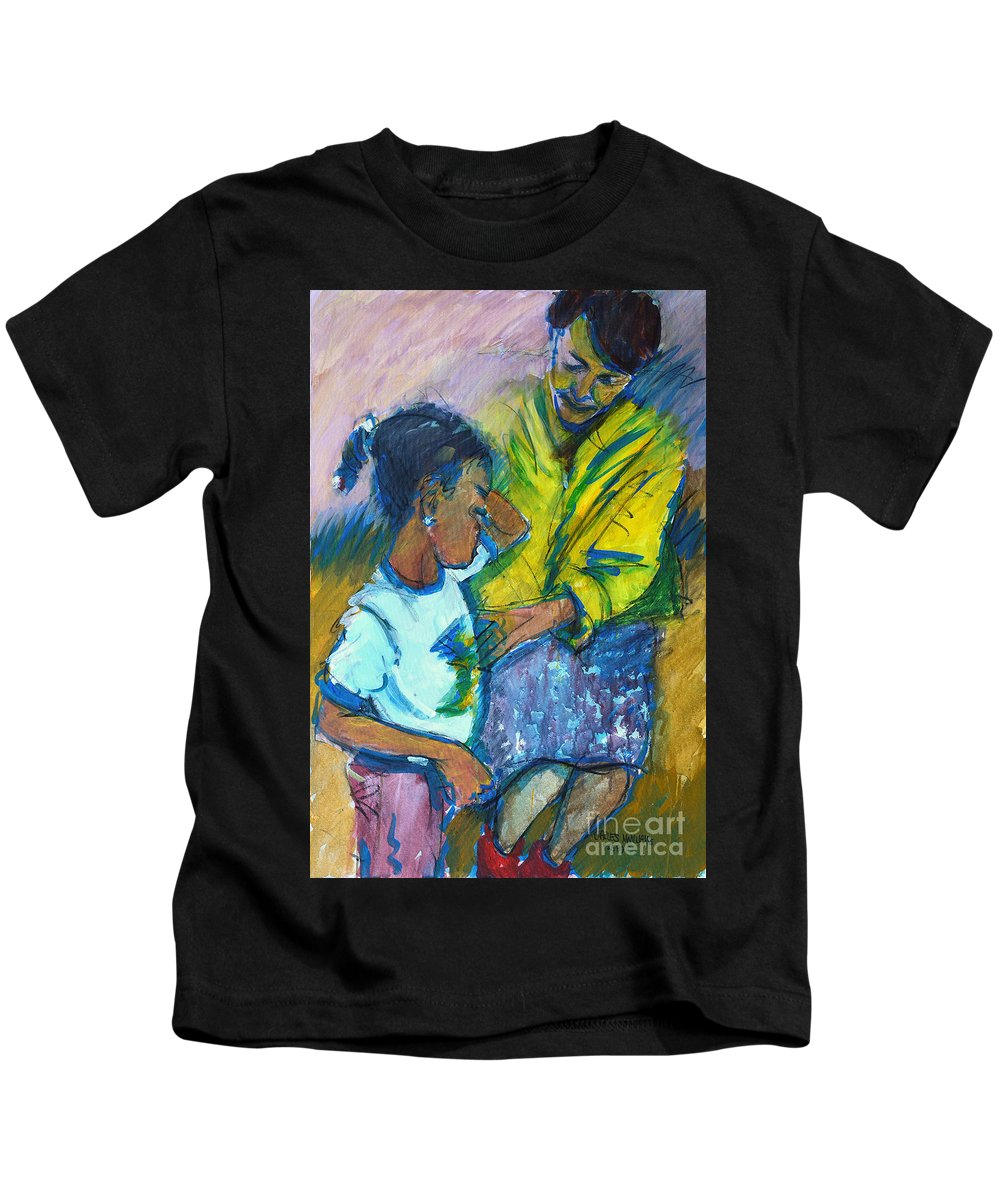 Child Kids T-Shirt featuring the painting Sleepy Tears				 by Charles M Williams