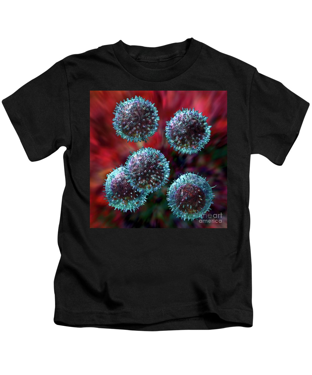 B-cells Kids T-Shirt featuring the digital art Small Lymphocytes by Russell Kightley