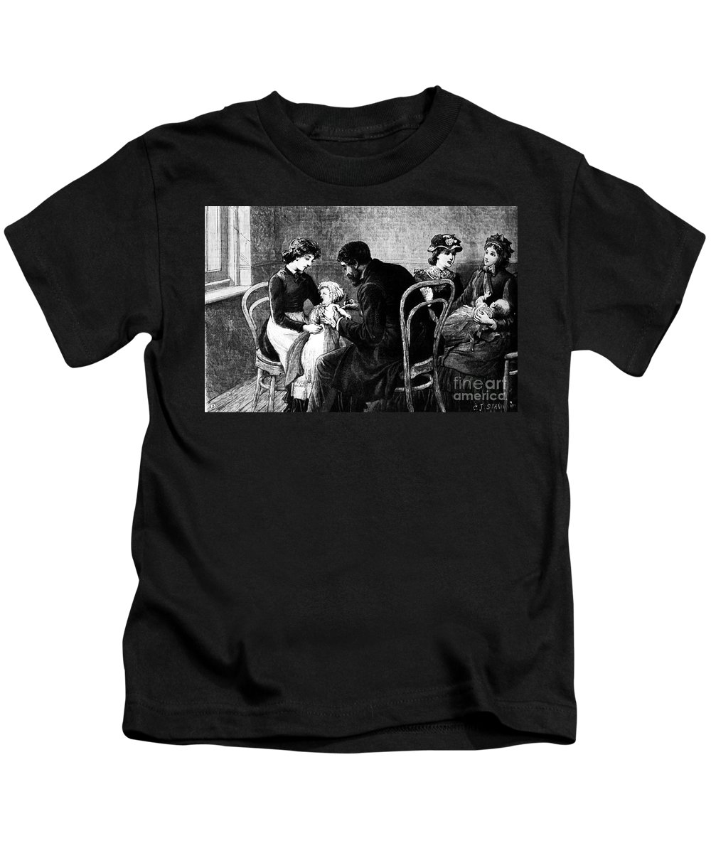 1883 Kids T-Shirt featuring the photograph Smallpox Vaccination, 1883 by Granger
