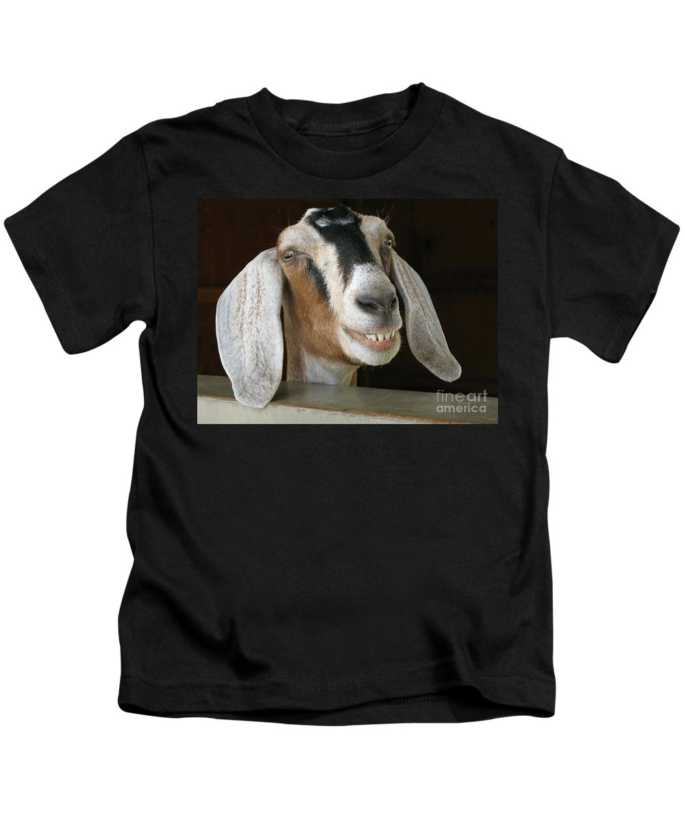 Goat Kids T-Shirt featuring the photograph Smile Pretty by Ann Horn