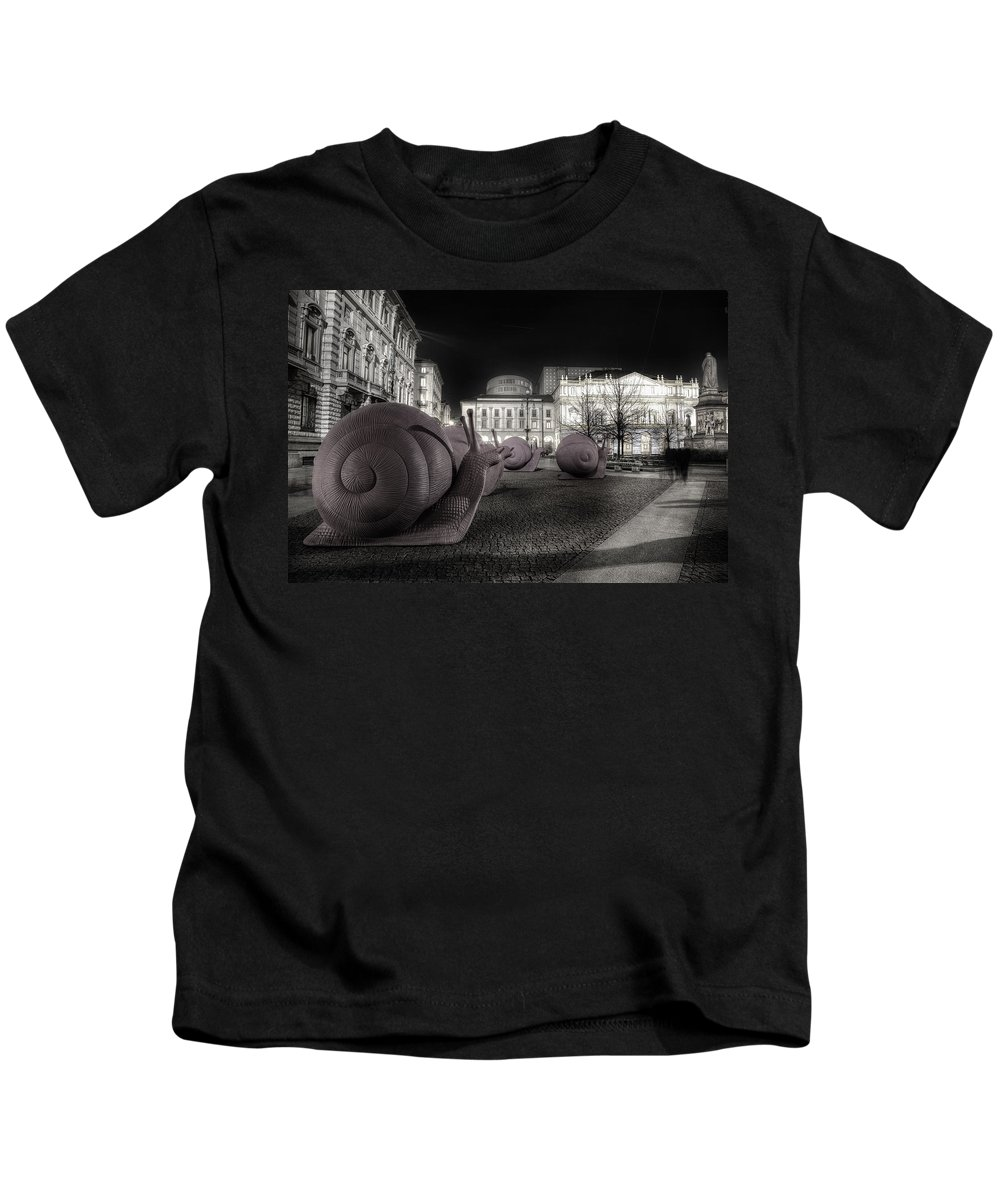 Snails Kids T-Shirt featuring the photograph Snails Attack Milan Bw by Alfio Finocchiaro