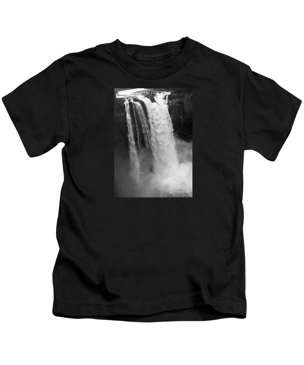 Snoqualmie Falls Kids T-Shirt featuring the photograph Snoqualmie Falls - Black And White by Carol Groenen