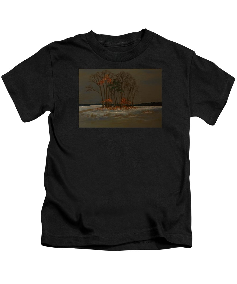 Wood Kids T-Shirt featuring the painting Snow by Birgit Schnapp