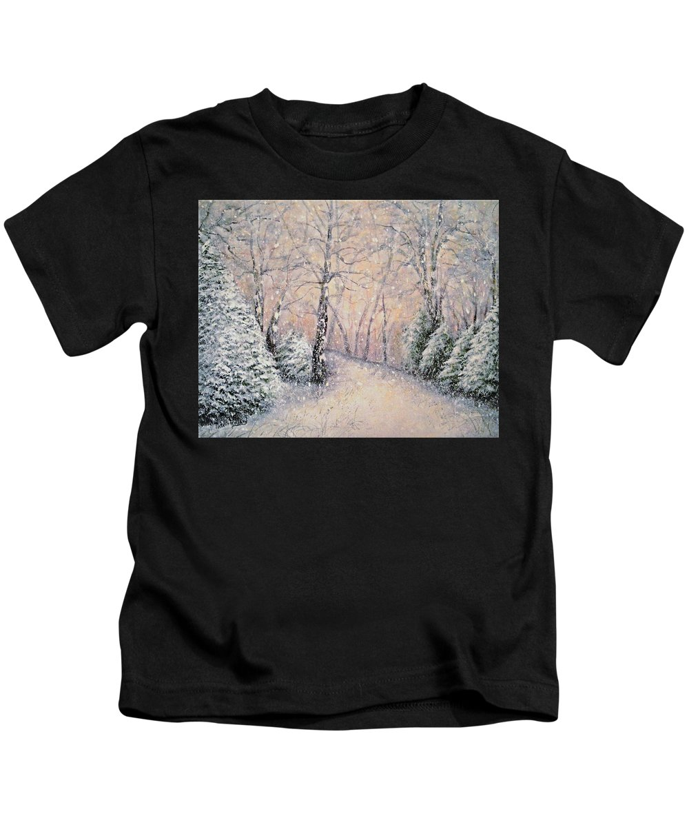 Snow Landscape Kids T-Shirt featuring the painting Snowflakes by Natalie Holland