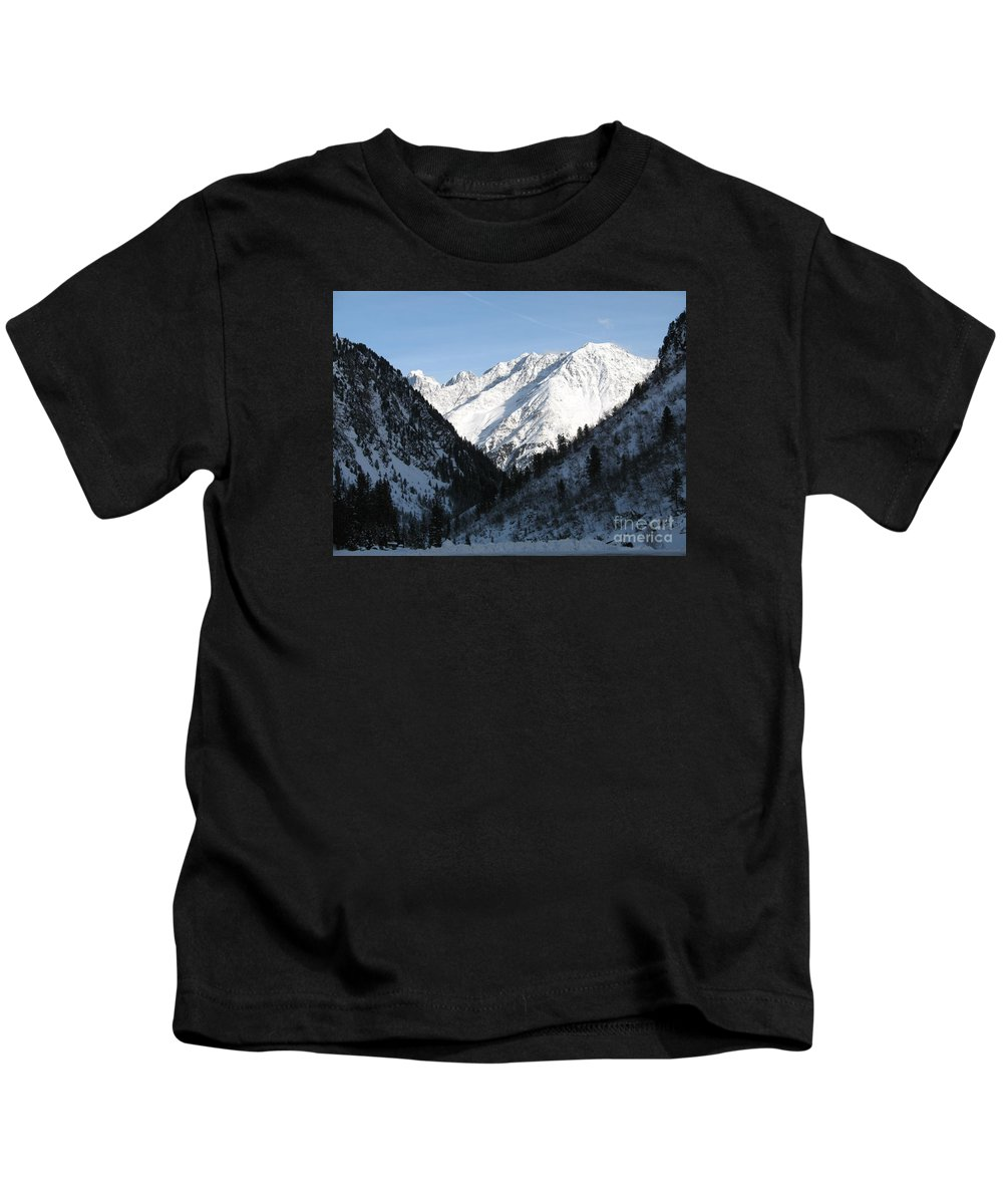 Snow Kids T-Shirt featuring the photograph Snowwhite Mountain Top by Christiane Schulze Art And Photography