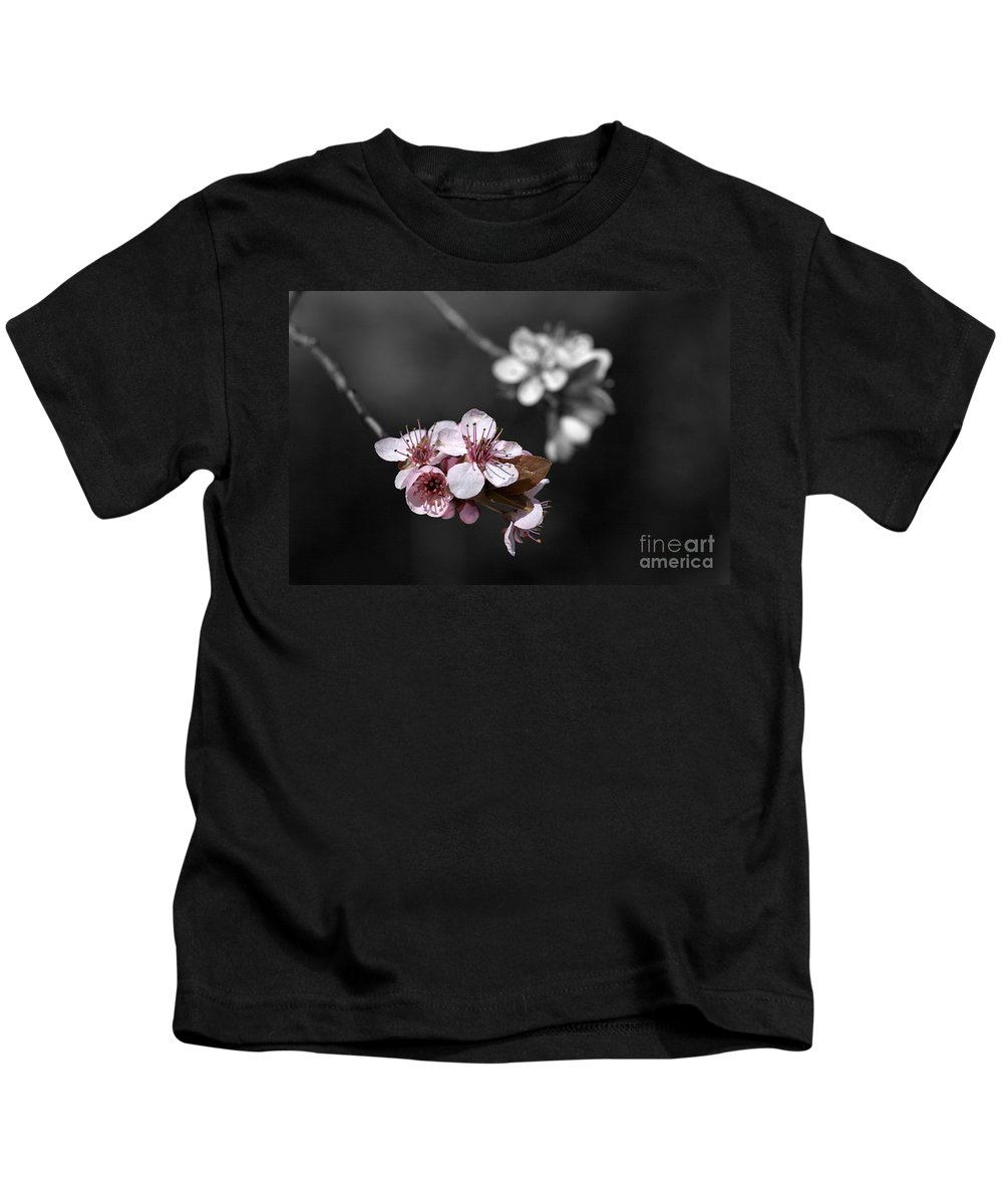 Selective Color Kids T-Shirt featuring the photograph Soft Pink Blossom by Joy Watson