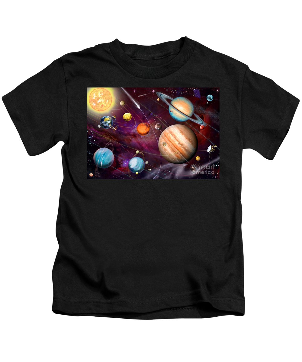 Garry Walton Kids T-Shirt featuring the digital art Solar System 2 by MGL Meiklejohn Graphics Licensing