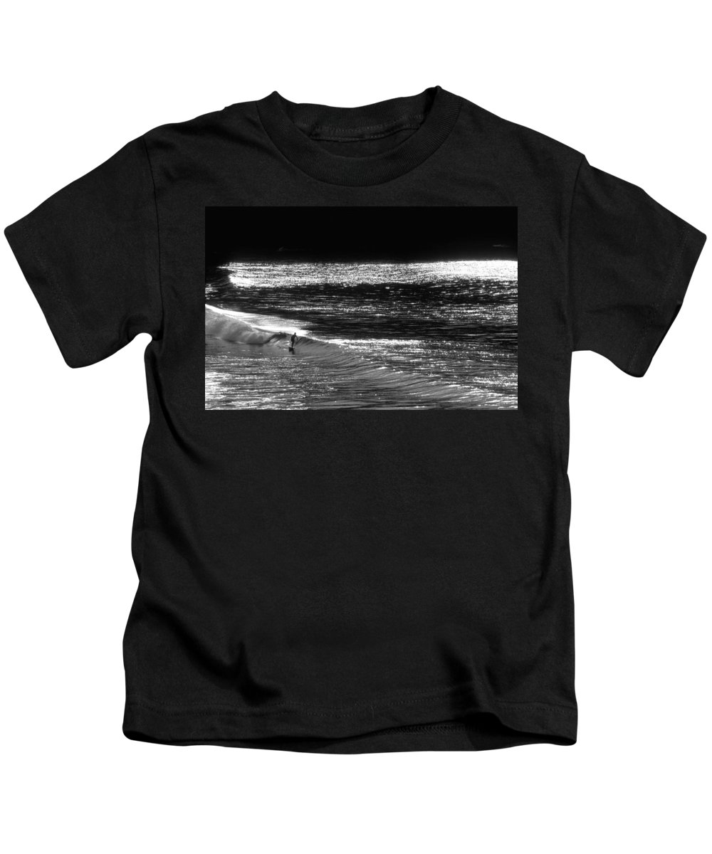 Surfers Photographs Kids T-Shirt featuring the photograph Solitary Glass by Sean Davey