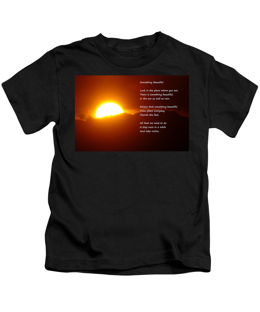 Sunset Kids T-Shirt featuring the photograph Something Beautiful by Jeff Swan
