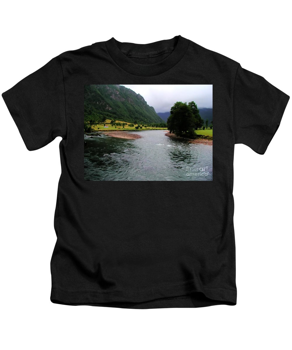 Landscape Kids T-Shirt featuring the photograph South America - Chile River by Tap On Photo
