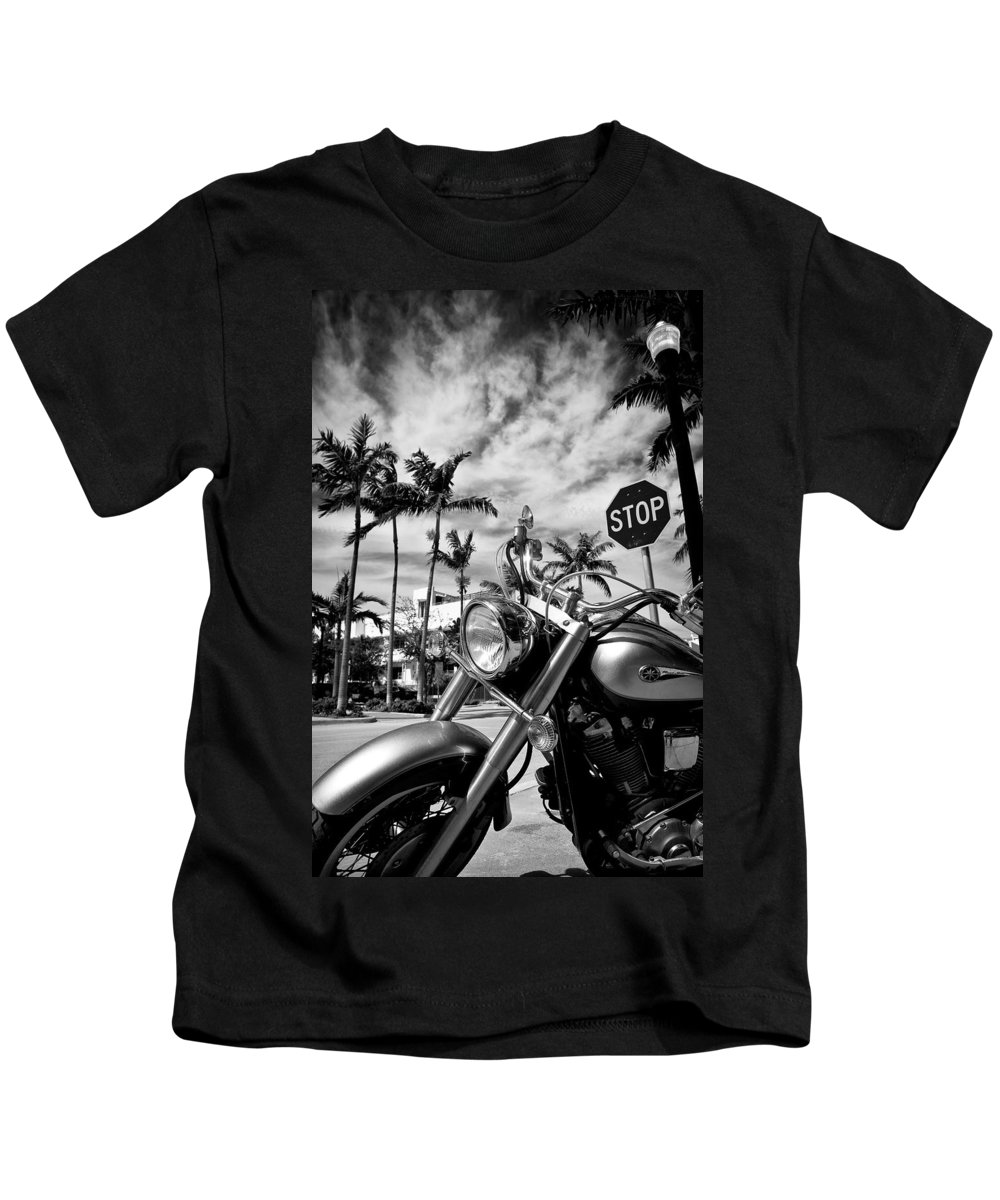 Bike Kids T-Shirt featuring the photograph South Beach Cruiser by Dave Bowman