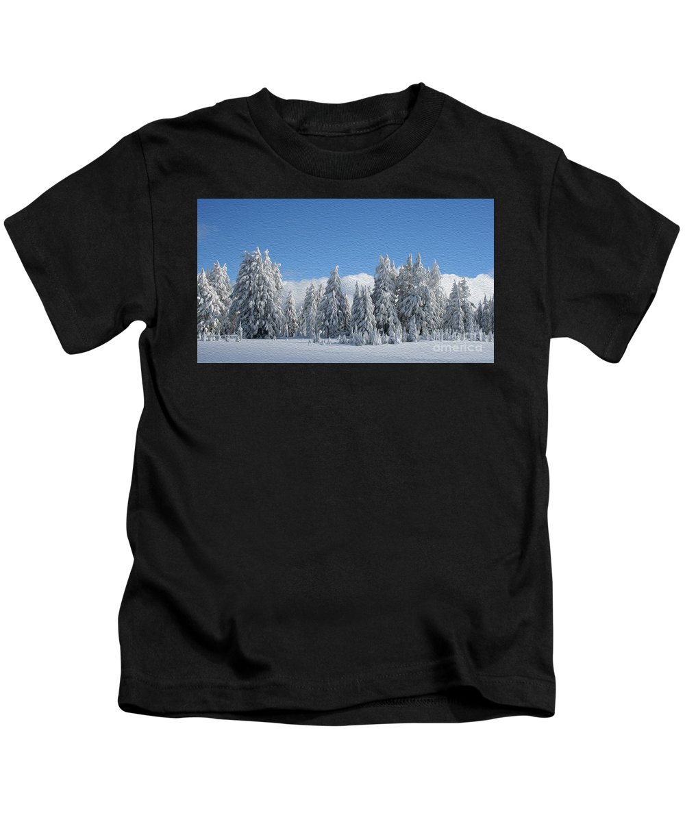Southern Oregon Forest In Winter Kids T-Shirt featuring the painting Southern Oregon Forest In Winter by Todd L Thomas