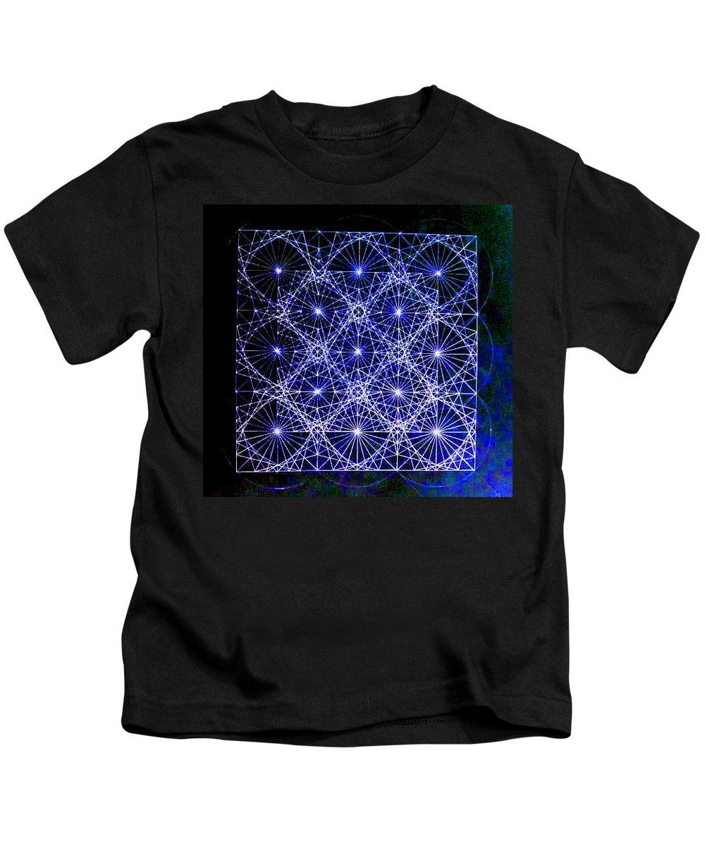 Space Kids T-Shirt featuring the drawing Space Time At Planck Length Vibrating At Speed Of Light Due To Heisenberg Uncertainty Principle by Jason Padgett