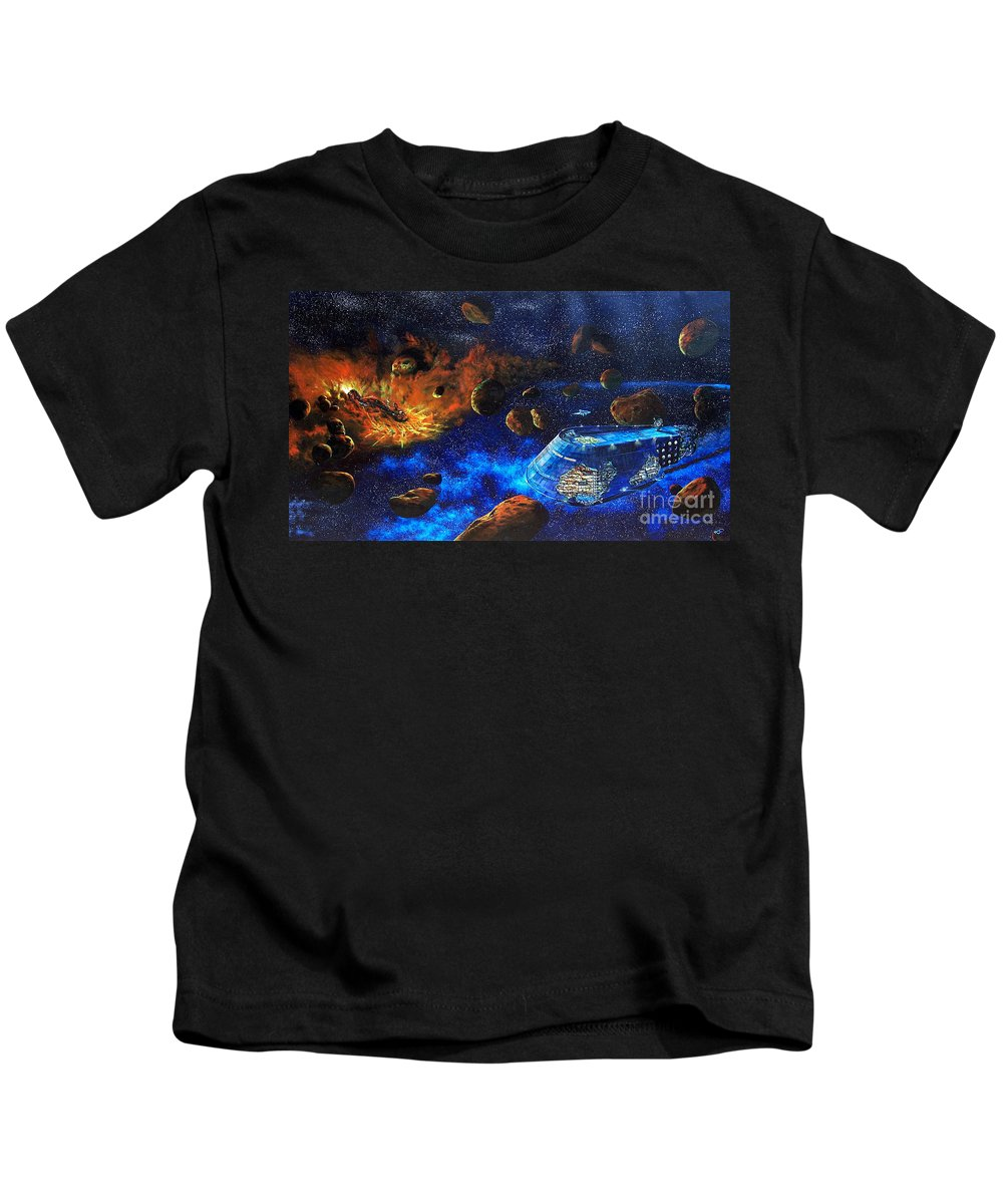 Future Kids T-Shirt featuring the painting Spaceship Titanic by Murphy Elliott