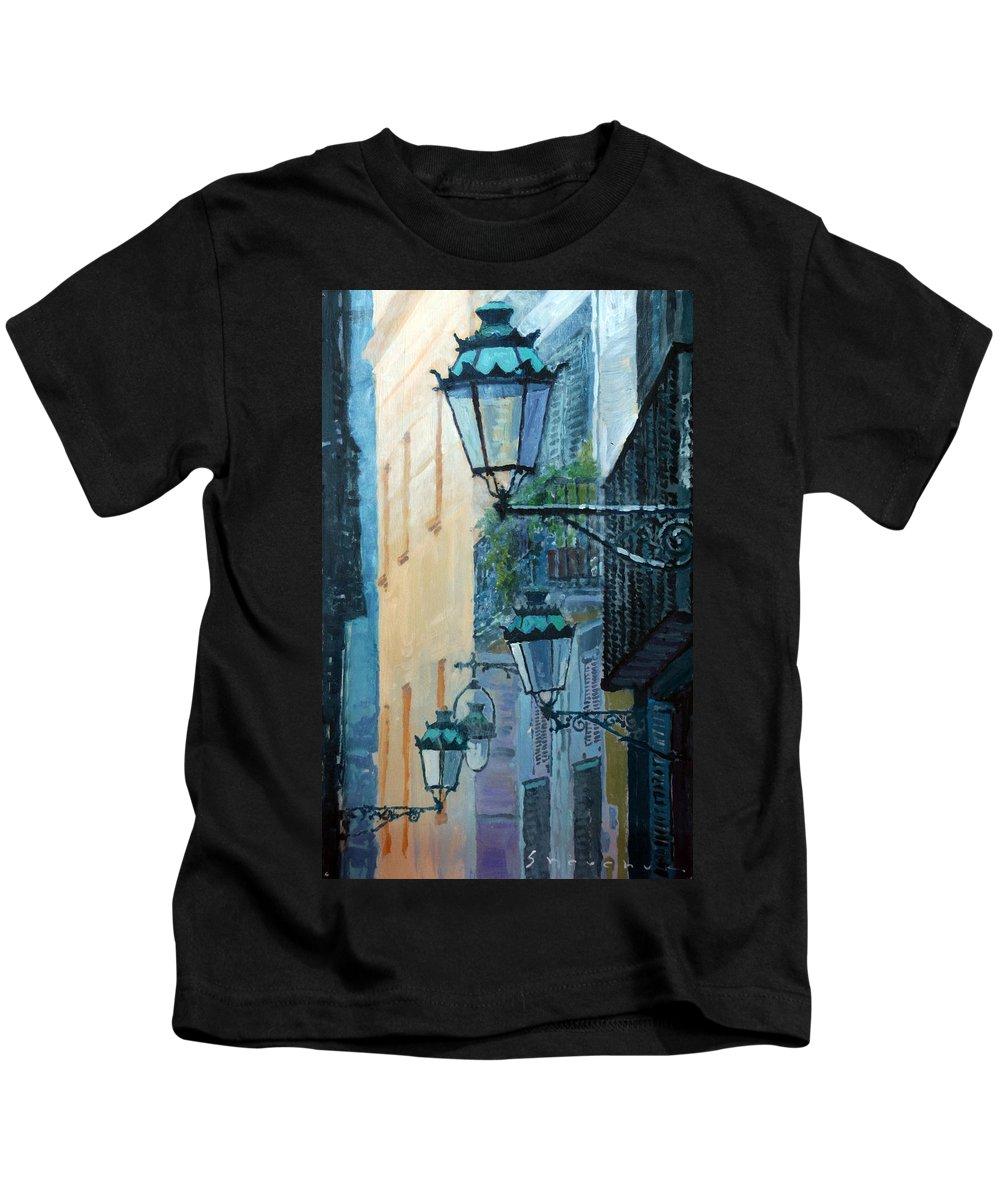 Acrilic Kids T-Shirt featuring the painting Spain Series 07 Barcelona by Yuriy Shevchuk