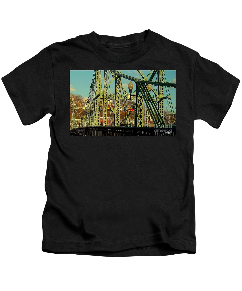 The Free Bridge Kids T-Shirt featuring the photograph Spanning by Tami Quigley