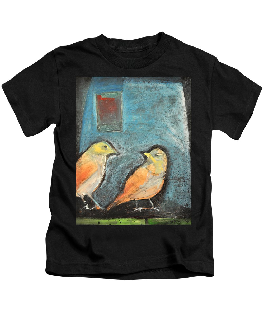 Birds Kids T-Shirt featuring the painting Sparrows by Tim Nyberg