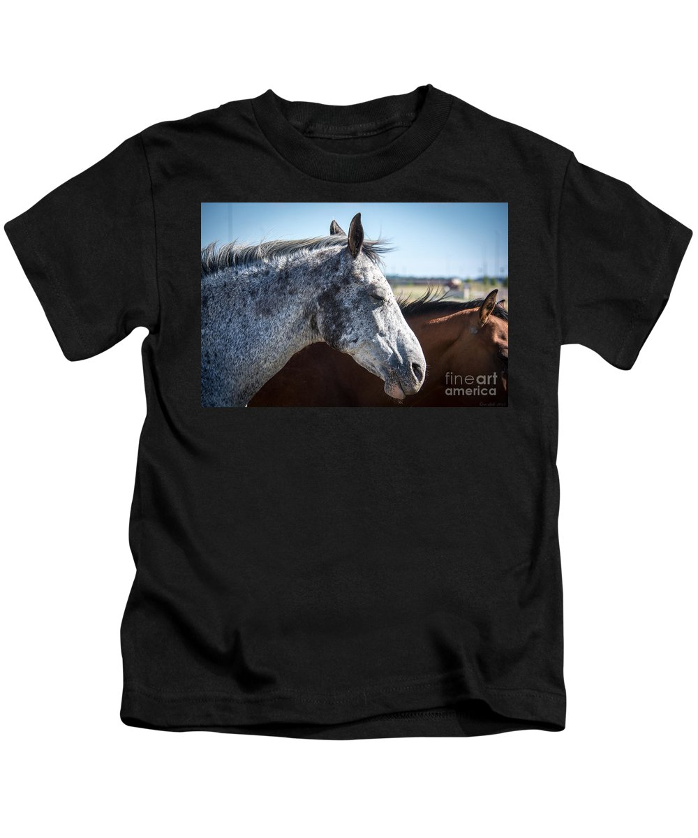 Horse Kids T-Shirt featuring the photograph Speckled Gray by M Dale