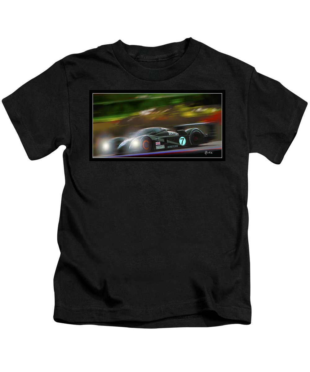 24hours Kids T-Shirt featuring the digital art Speed 8 At Night by Craig Purdie