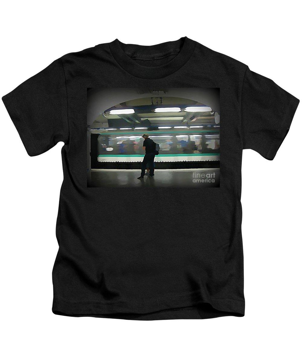 Subway Kids T-Shirt featuring the painting Speeding Subway Train by John Malone