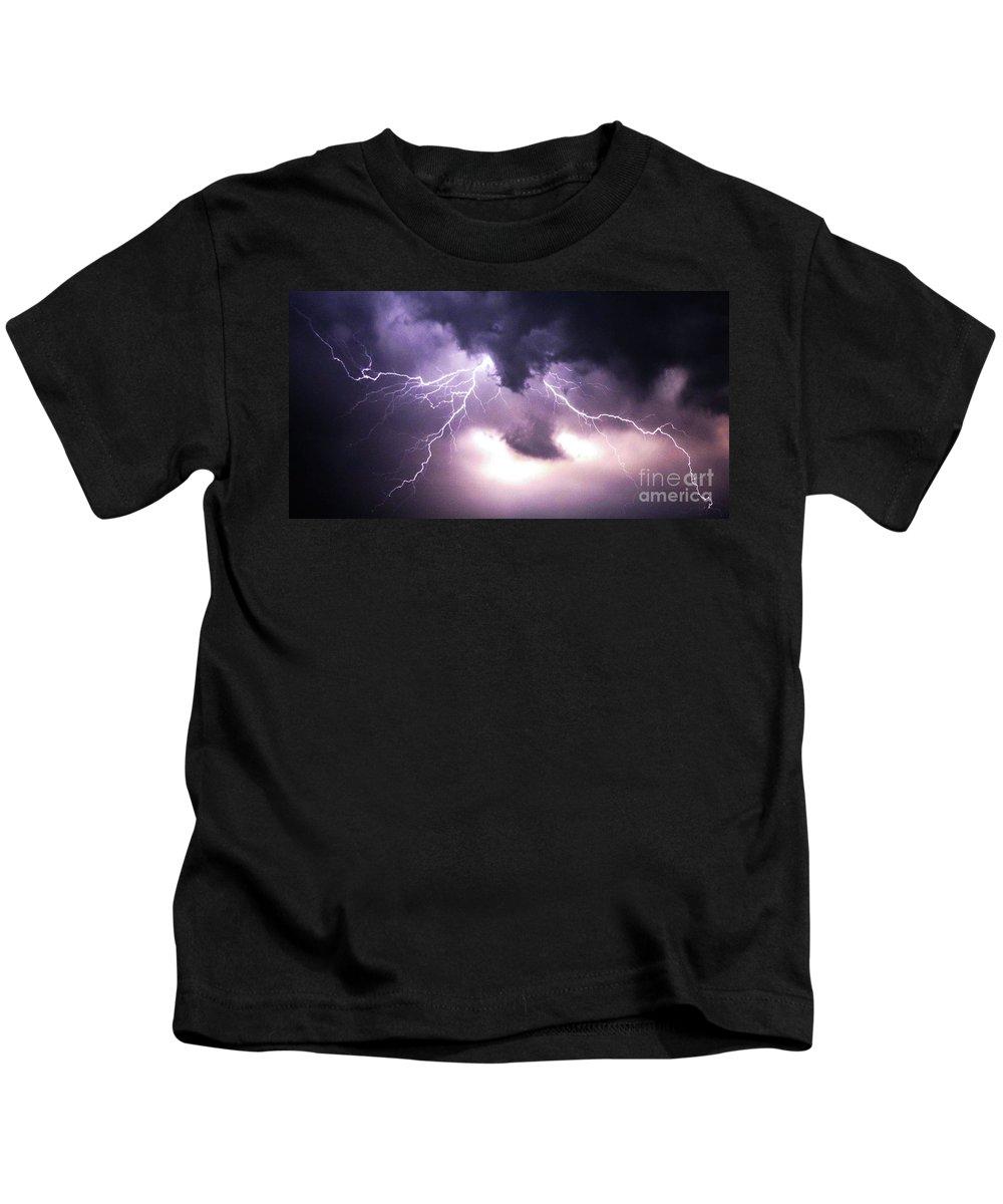 Lightening Kids T-Shirt featuring the photograph Spider Lightening by Angela Wright