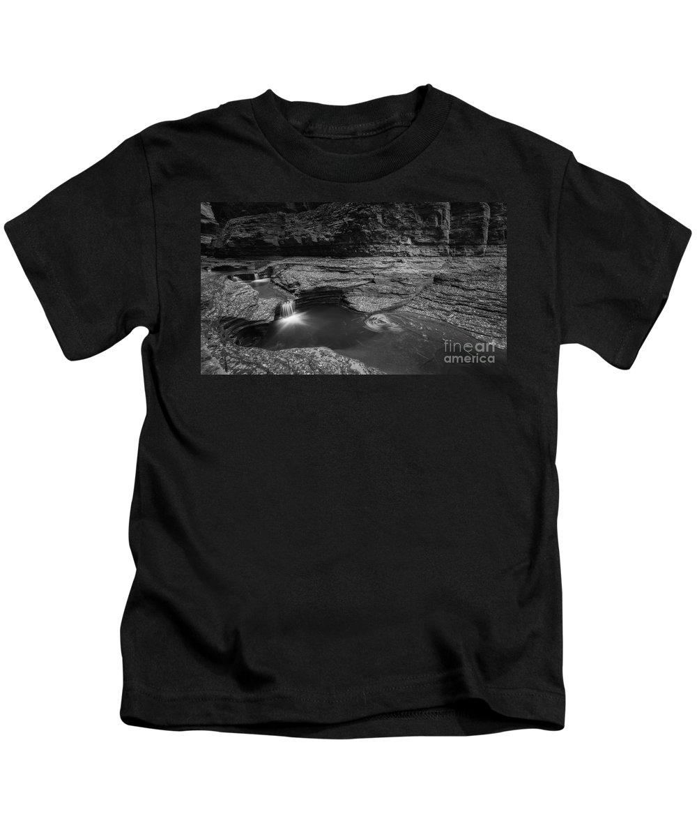 Cavern Cascade Kids T-Shirt featuring the photograph Spinning Leaves Bw by Michael Ver Sprill