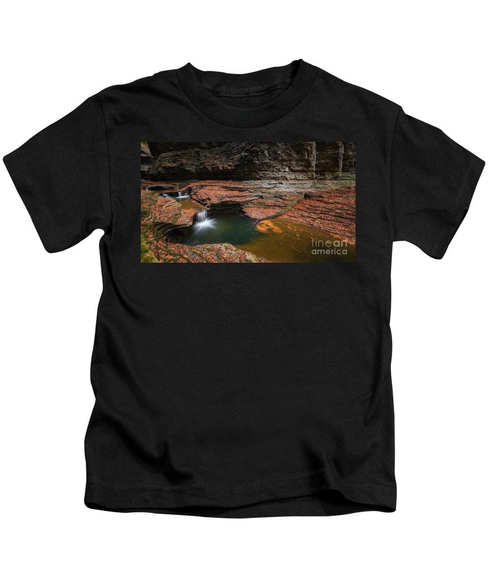 Cavern Cascade Kids T-Shirt featuring the photograph Spinning Leaves by Michael Ver Sprill