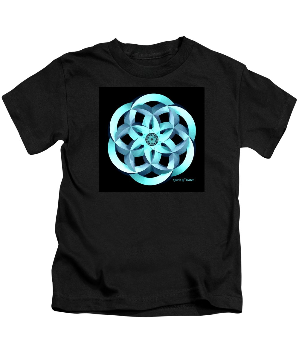 Moebius Kids T-Shirt featuring the digital art Spirit Of Water 1 - Blue by David Voutsinas