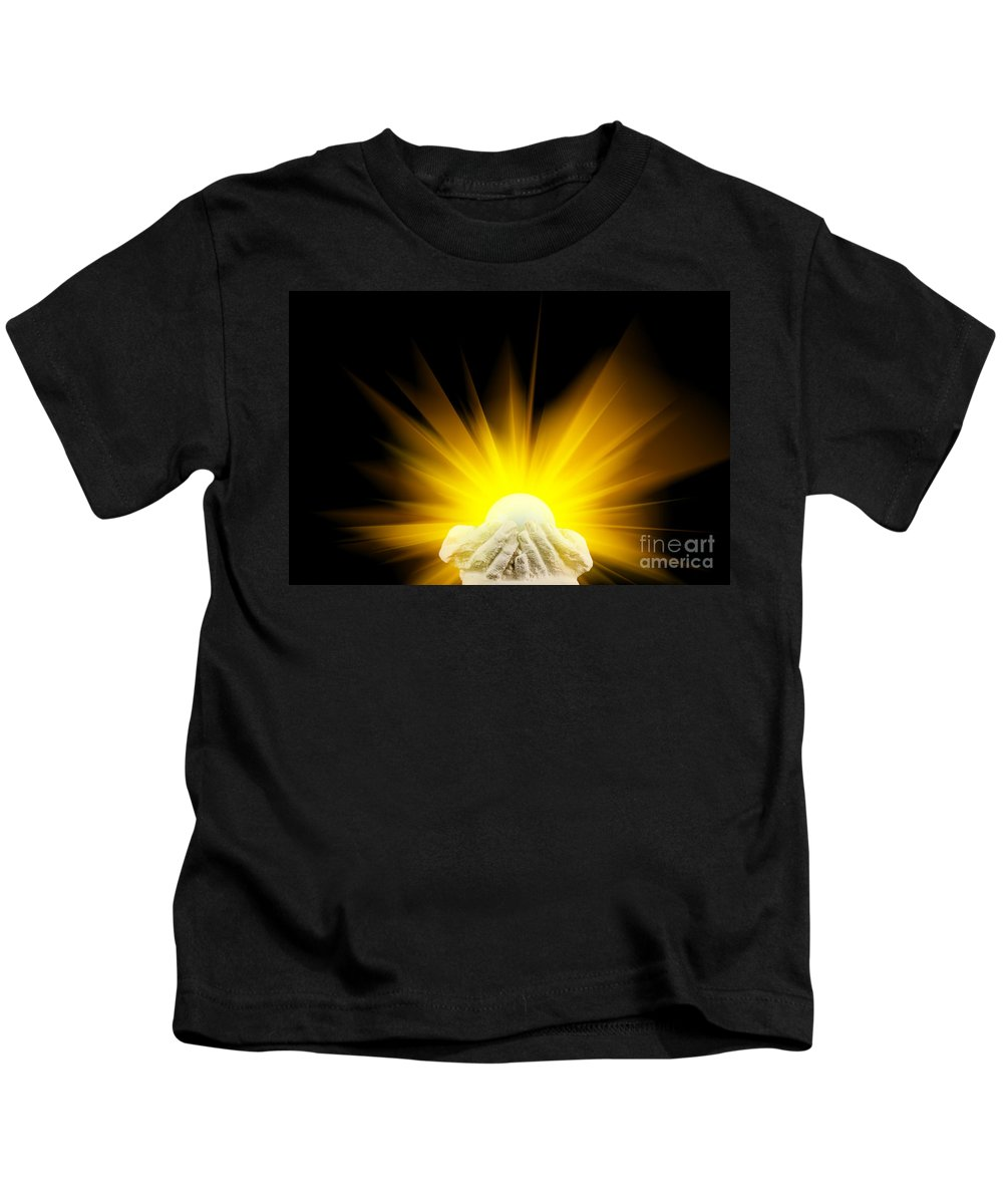 Spiritual Kids T-Shirt featuring the photograph Spiritual Light In Cupped Hands by Simon Bratt Photography LRPS